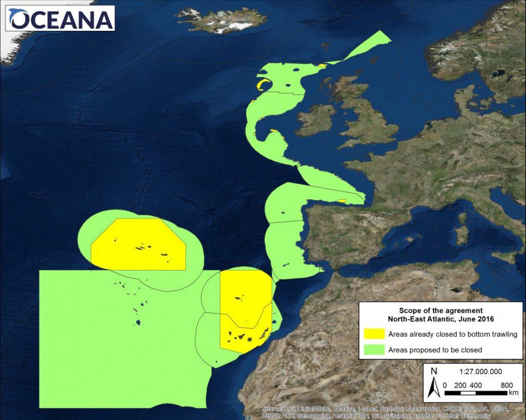 Mapa de las zonas protegidas y propuestas para prohibir las redes de arrastre.