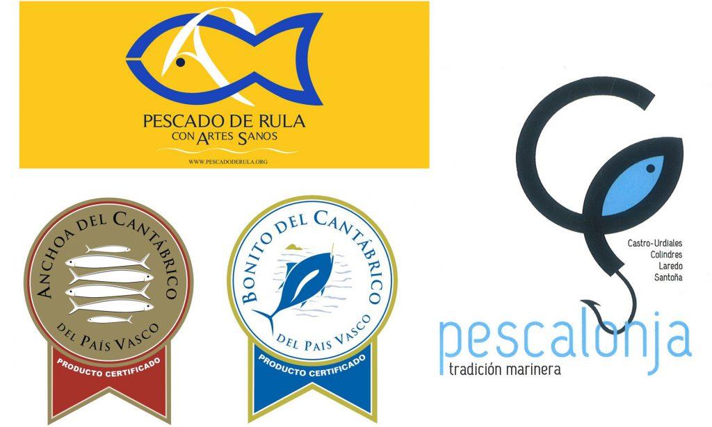 Etiquetas de garantía de la calidad del pescado.