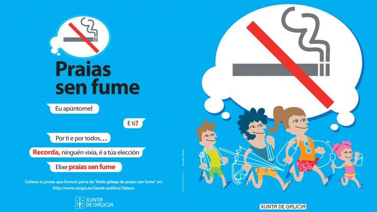 """Imagen del folleto promocional de la campaña """"Playas sin humo"""" de la Xunta."""