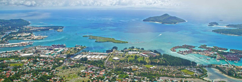 Vista aérea de la capital de las islas Seychelles.