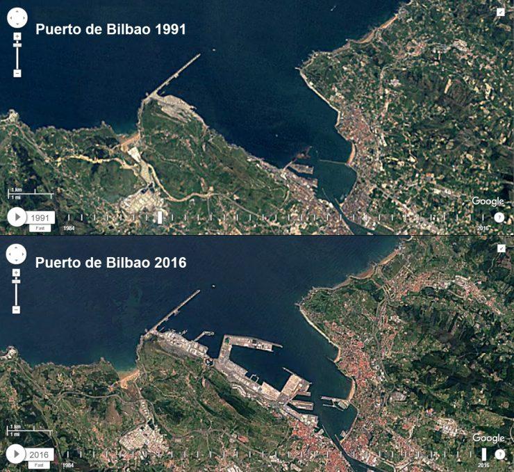 Imágenes del Puerto de Bilbao en 1991 y 2016.